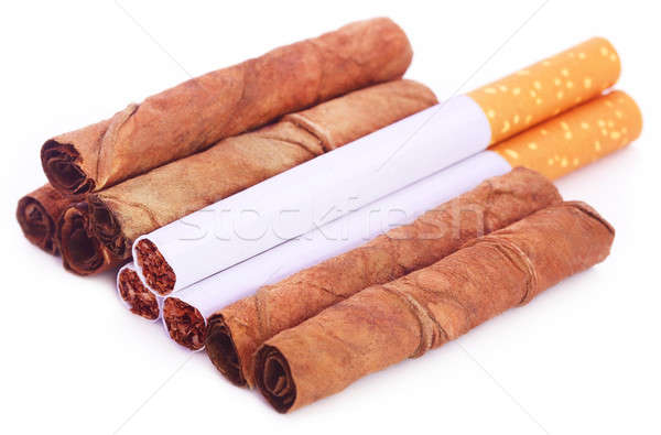 Dry tobacco leaves with cigarette  Stock photo © bdspn