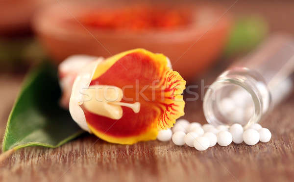 Homeopathy globules with herbal flower Stock photo © bdspn
