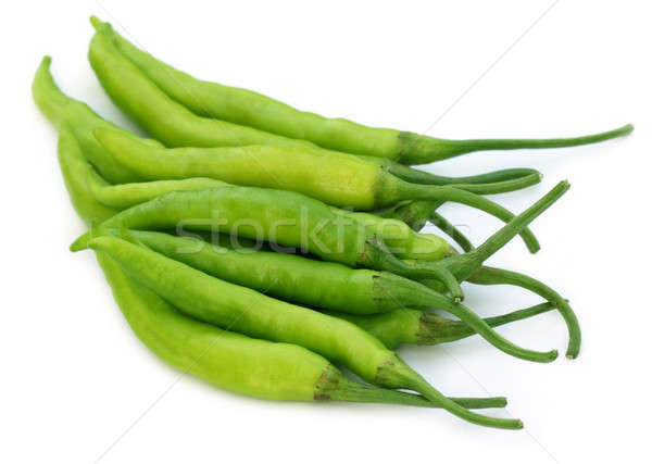 Group of fresh green chilies Stock photo © bdspn