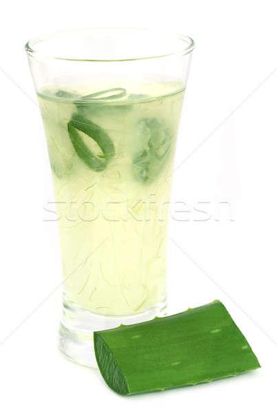 Aloés suco vidro branco folha verde Foto stock © bdspn