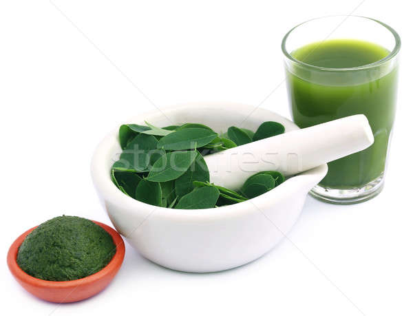 Edible moringa leaves with extract and ground paste Stock photo © bdspn