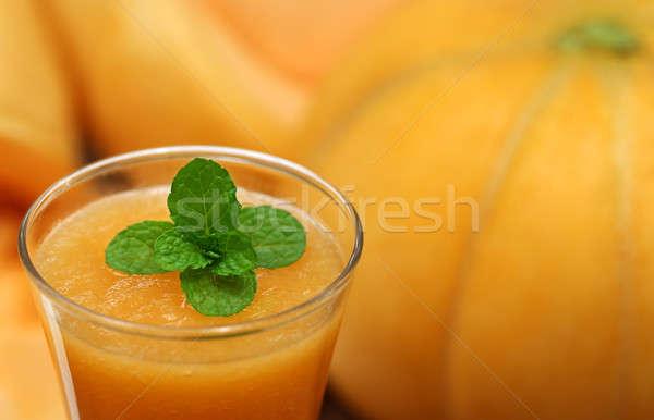Muskmelon juice with mint leaves Stock photo © bdspn