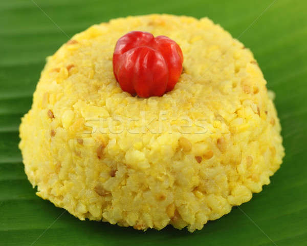Bangladesh cozinha arroz folha jantar Foto stock © bdspn