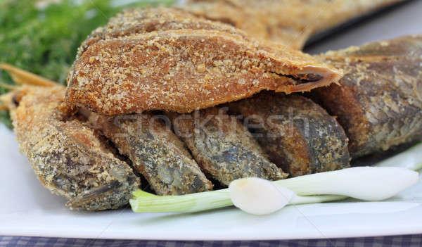 Közelkép megőrzött hal zöldségek vacsora Ázsia Stock fotó © bdspn