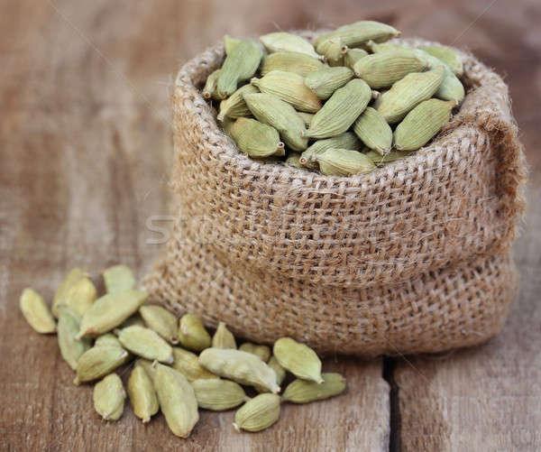 Kardemom zaad zak voedsel gezonde Stockfoto © bdspn
