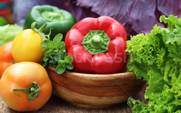 Closeup of fresh vegetables Stock photo © bdspn