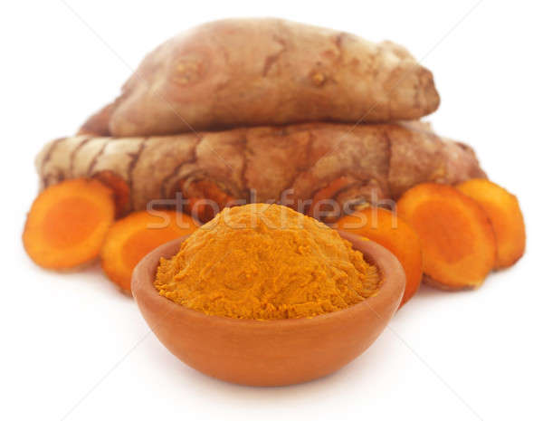 Raw and mashed turmeric Stock photo © bdspn