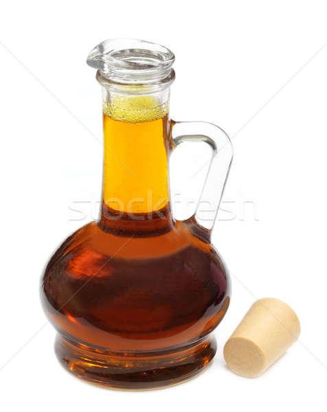 Jadalny musztarda oleju przezroczysty butelki biały Zdjęcia stock © bdspn