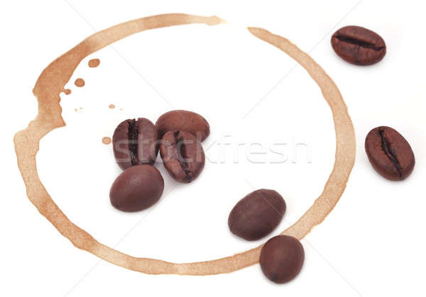 Roasted coffee with cup stain Stock photo © bdspn