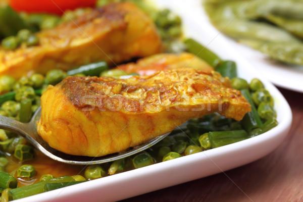 Picante prato carpa branco tigela comida Foto stock © bdspn
