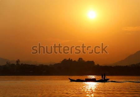 Coucher du soleil lac Bangladesh soleil beauté orange Photo stock © bdspn