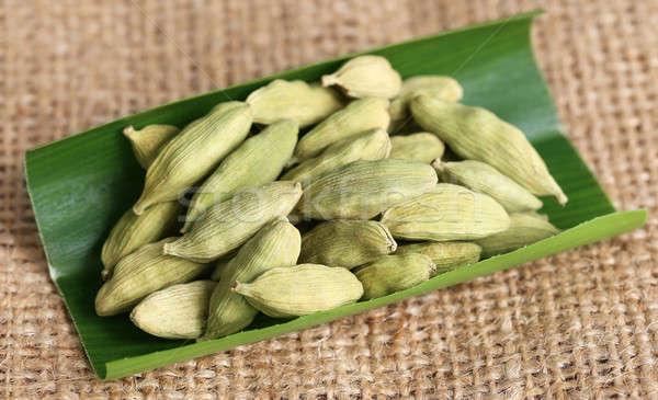 Cardamomo semente folha verde comida verde saudável Foto stock © bdspn
