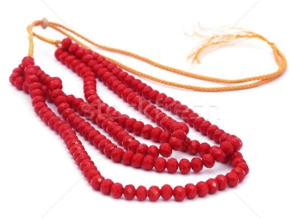 Czerwony koralik naszyjnik biały tekstury ślub Zdjęcia stock © bdspn