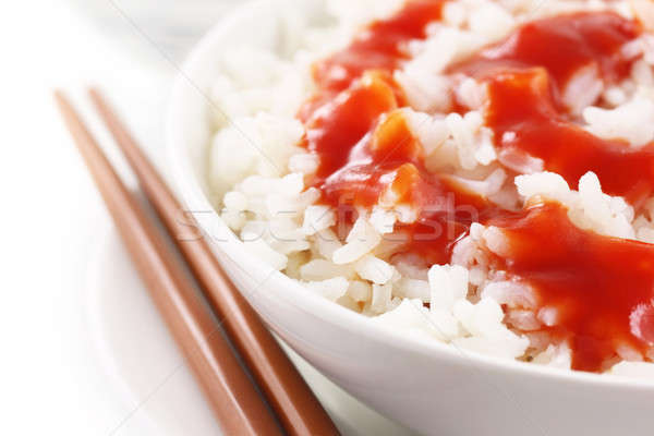 新鮮な コメ 箸 白 水 食品 ストックフォト © bdspn
