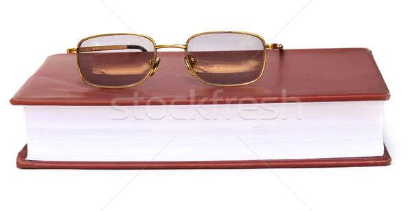 Szemüveg könyv fehér iskola keret tudomány Stock fotó © bdspn