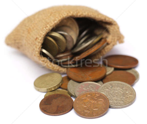 Old coins in sack bag Stock photo © bdspn