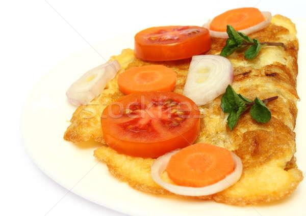 Tükörtojás saláta közelkép tányér zöld reggeli Stock fotó © bdspn