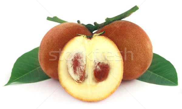 Kadife elma beyaz gıda yeşil yaprakları Stok fotoğraf © bdspn