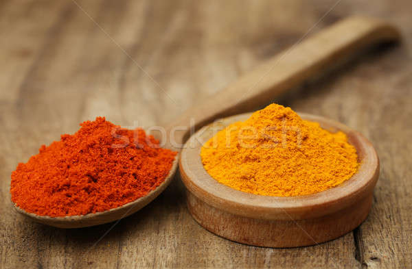 Ground turmeric and chili on wooden surface Stock photo © bdspn