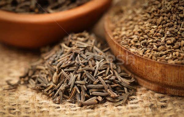 Kimyon tohumları diğer baharatlar doğal kimse Stok fotoğraf © bdspn