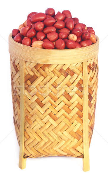 Fraîches cacahuètes panier blanche fruits semences Photo stock © bdspn