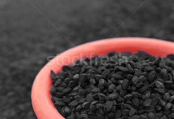 Zwarte komijn kom voedsel achtergrond planten Stockfoto © bdspn