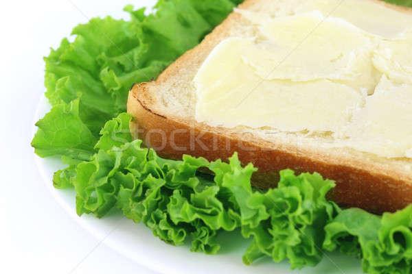 Stok fotoğraf: Ekmek · peynir · yeşil · marul · plaka