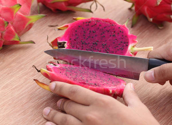 Cutting dragon fruit Stock photo © bdspn
