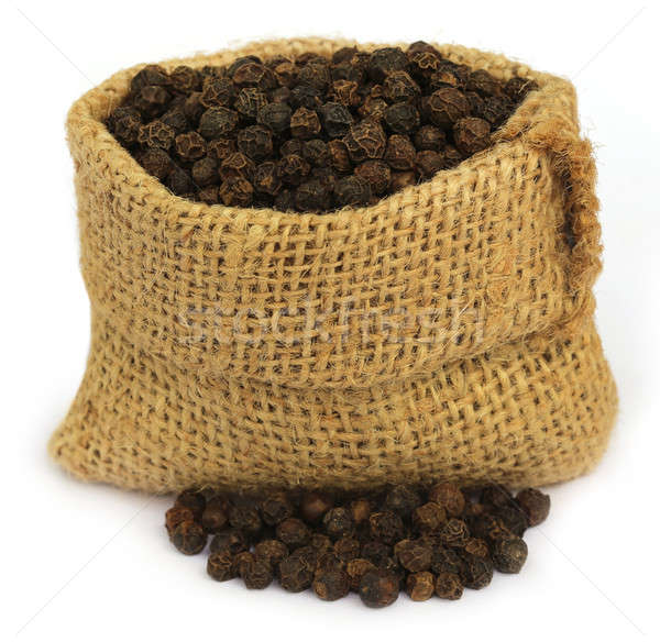 Black peppercorns in sack Stock photo © bdspn