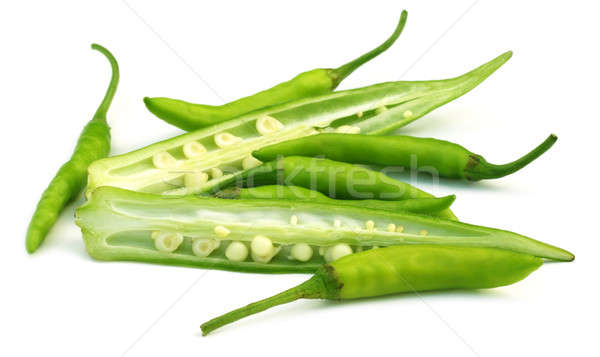 Sliced okra with chilies Stock photo © bdspn