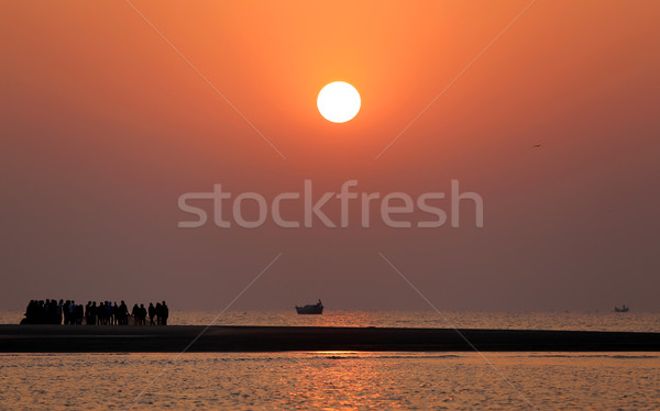 Sunrise Bangladesh plage eau coucher du soleil design Photo stock © bdspn