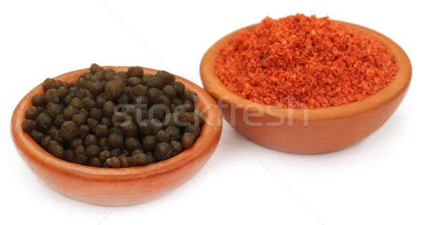 Vegyi műtrágya barna tálak étel narancs Stock fotó © bdspn
