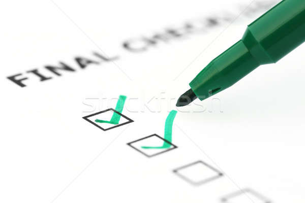 Finale verificare elenco verde pen bianco Foto d'archivio © bdspn
