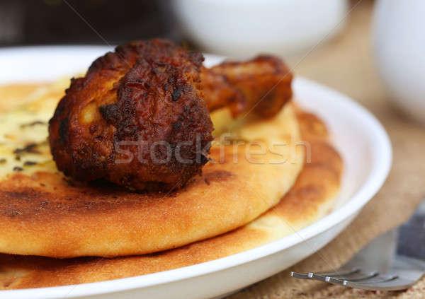 чеснока гриль пластина хлеб пшеницы Сток-фото © bdspn
