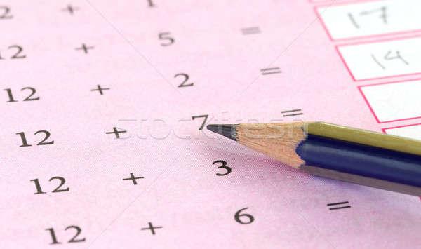 Préliminaire mathématiques crayon éducation modèle mathématiques Photo stock © bdspn