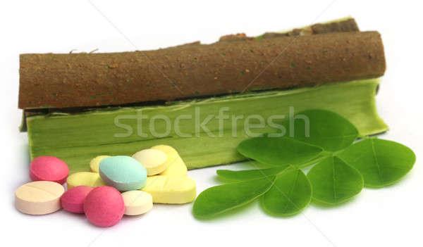 листьев Кора таблетки белый зеленый синий Сток-фото © bdspn