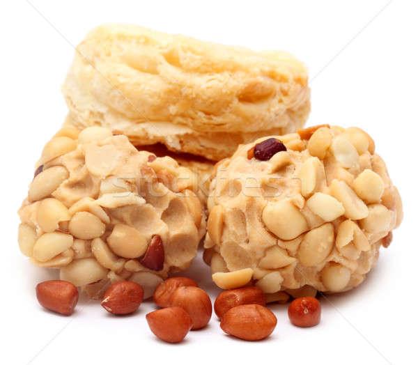 Arachide fraîches cookies blanche alimentaire Photo stock © bdspn