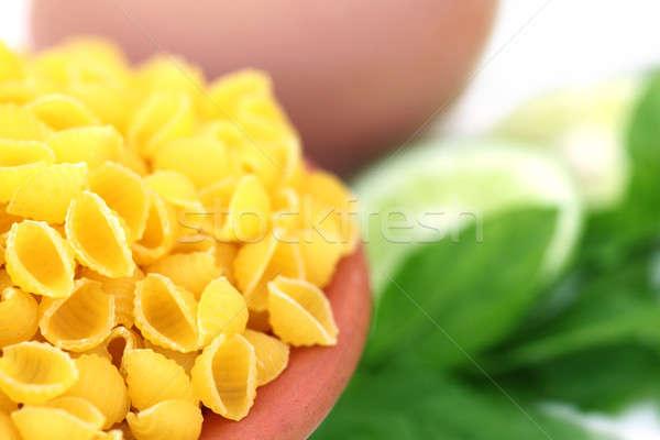 Tészta makaróni egyéb hozzávalók fehér tojás Stock fotó © bdspn