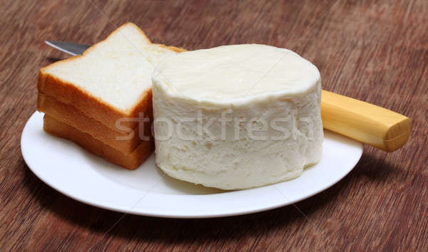 Foto stock: Mozzarella · queso · pan · placa · grasa · blanco