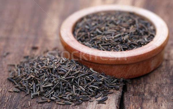 Karwij zaden kom houten oppervlak natuurlijke Stockfoto © bdspn