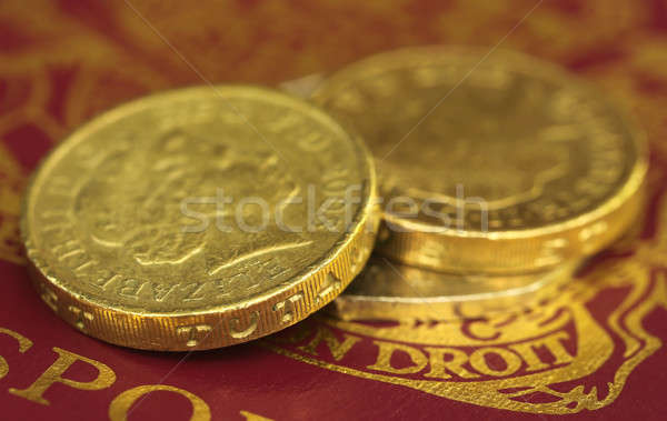 British Pound coin on passport Stock photo © bdspn