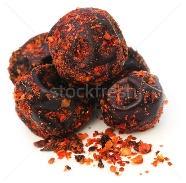 Hot augurken witte vruchten Rood knoflook Stockfoto © bdspn