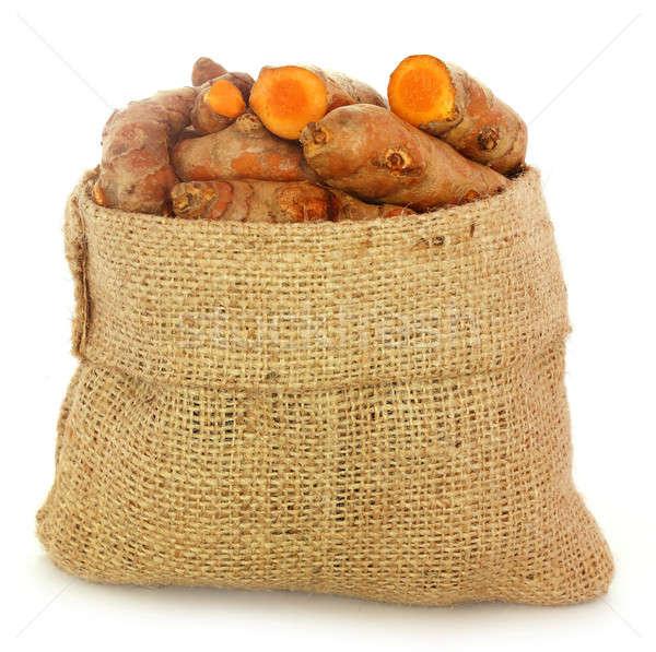 Turmeric in sack bag Stock photo © bdspn