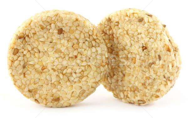 Gergelim bolinhos dois branco comida Foto stock © bdspn