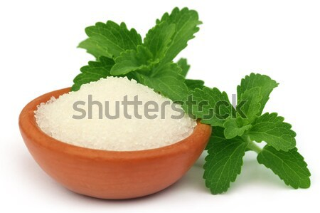 Brown sugar with stevia leaves Stock photo © bdspn