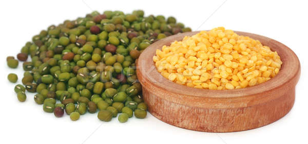 Mung bean in wooden bowl Stock photo © bdspn