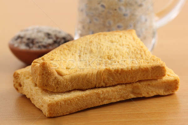Toast biscuits jus verre Photo stock © bdspn
