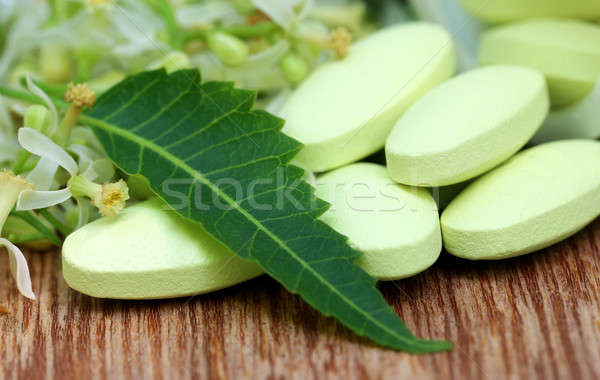 Pills made from medicinal neem flower and leaves Stock photo © bdspn