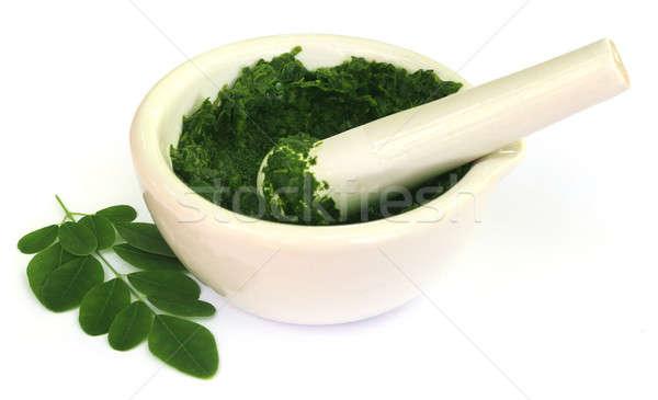 Moringa leaves with mortar and pestle Stock photo © bdspn
