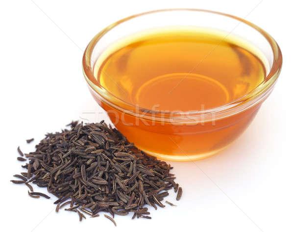 Kimyon tohumları cam çanak yağ Stok fotoğraf © bdspn